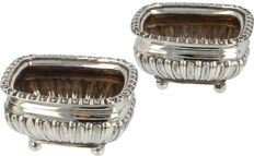 Silver salt cellars, on 4 ball feet, John Heath & John Middleton, Hukin & Heath, London, 1898-1899