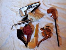 Three old pipes in Meerschaum / Bernstein u.u., Adlerschnitzerei with two cases.
