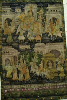 Pichvai painting on cotton of a procession - India - late 19th century