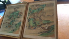 Two ANTIQUE paintings on silk, mythology topic — China — 19th