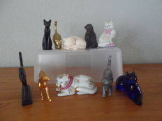"10 cats from the collection ""curio cabinet of cats"" by franklin mint 1986-1988"