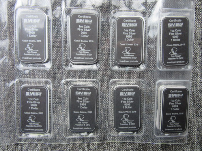 "Cook Islands:  8 x 1 Oz silver bars ""The Bounty sail ship 2015"" Sealed .999"