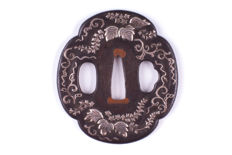 Iron Tsuba with Silver Inlay - Japan - 19th century