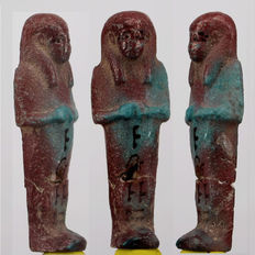 Egyptian blue faience Shabti with hieroglyphs - 5,9cm c. 2,32 inches