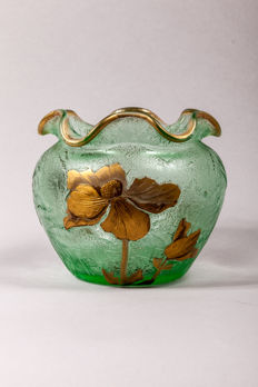 Mont Joye - glass vase with etched decoration of golden flowers
