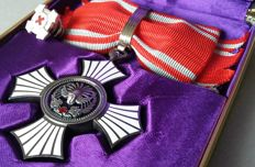 Japanese Enameled Red Cross Merit Medal for Women. Silver version.  With Pin and Case.