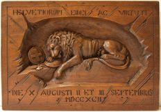 Walnut wood bas-relief of the dying Lion of Lucerne - Switzerland - late 19th century