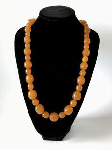 Natural Amber caramel colour necklace with big size beads,  129 grams, Art Deco period, Baltic region