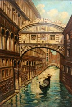 Toni Riss (XIX - XX century) -Venice Bridge of Sighs