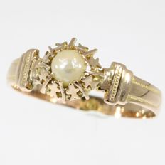 Red gold Victorian ring with one salt water pearl - No Reserve Pricel - anno 1880