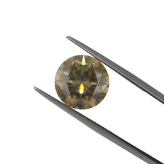 Natural Fancy Greenish Yellow 6.04 ct. Round Brilliant Cut shape Diamond, AIG Certified