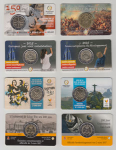 Belgium – 2014/2017 2 and 2½ Euro Coins in Coin Cards (8 different)