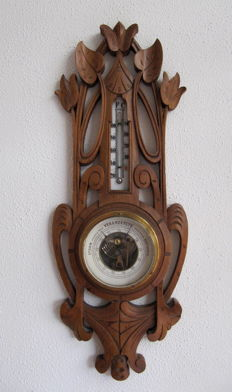 Art Nouveau wooden barometer with thermometer
