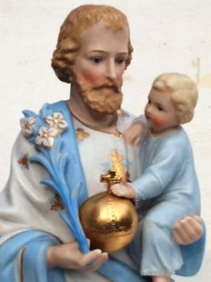 Holy Josef with baby Jesus – Biscuit  – Belgian – 1st half 20th century
