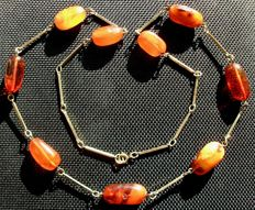 Antique natural amber necklace with olives, 2.2 cm, approx. 18.3 grams, no reserve price