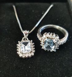 Blue topaz entourage ring set with pendant