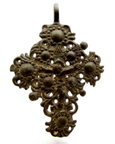 Bronze Cross Pendant Depicting Crucified Jesus Christ - 67 mm