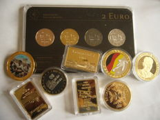 Europe -  germany  (2 Euro 2014 Precious Metal Set) (4 different plated coins)  & ( 8 medals and bullions )