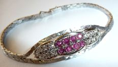 Bracelet in 14 kt / 585 white gold with 0.52 ct. Diamonds/brilliants and 0.91 ct Rubies