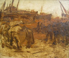 Unknown (20th century) - Study?, Dokwerkers in de haven