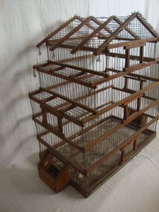 Normally Used in Portuguese  Kitchen´s - Old Bird Cage ( 3 Floor  ) -  in Wood and Metal, Hand made, Ca 1930