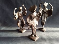 Three Takahasi keiten statues - Japan - around 1950.