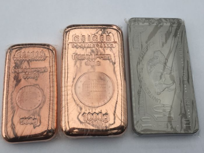 Investment package 0.5 kg copper bar + 1.0 kg copper bar + 10 oz 999 titanium bar - American Buffalo