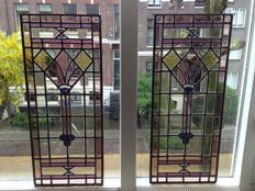 Two gorgeous old Jugendstil stained glass windows (suncatchers) with soft colours and mosaic - from approximately 1890
