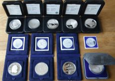The Netherlands – 50 guilders 1982 to 1998 (9 different ones) complete – silver
