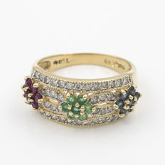 Yellow gold cocktail ring with 38 diamonds - 7 rubies - 7 emeralds - 7 sapphires Size: 19 (Spain)