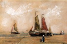 A.C.W. Terhell, ships on the beach, watercolour, signed in print - 2nd half of 20th century