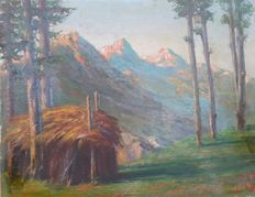 "Unknown artist (signed by Mineo, 20th century) - Paesaggio di montagna - Signed by ""Mineo"""
