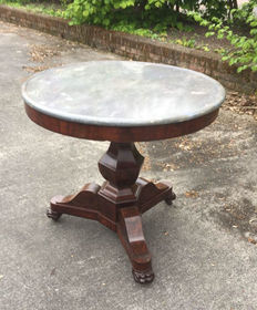 An Empire mahogany table with grey marble top - Netherlands - probably 19th century