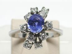 Vintage diamond & ceylon sapphire cluster ring total: 2,20ct.