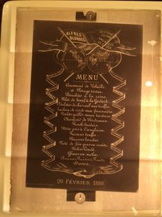 Glass negatives 7 x 1880 Brussels amongst others  Menu card/letters