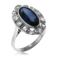 Antique Diamond and Synthetic Sapphire 'Entourage' Ring, large size