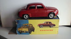 Joustra, France - Length: 30 cm -Renault Dauphine made of sheet metal with friction drive, 60s