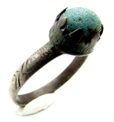 Late Medieval Solid Silver Ring with Blue Stone Inserted in Bezel - 20 mm