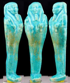 Ancient Egyptian blue faience Shabti with nemes headdress - ca. 11,4 cm - c. 4,49 inches