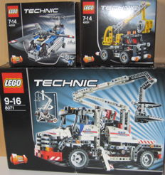 Technic - 8071 + 42020 + 42031 - Bucket Truck + Twin-rotor Helicopter + Cherry Picker