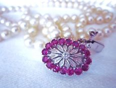 3 strand Akoya pearl necklace with rubies and diamands made of 750 white gold