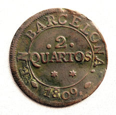 Spain – Jose Napoleon – 2 Quartos copper coin – 1809 – Barcelona