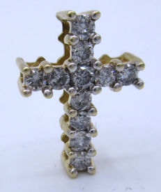 18 K Yellow Gold  -  0.95 CT 11 BIG Diamond's Brilliant cut Cross Pendant **** No Reserve Price ****