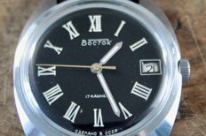 VOSTOK  WATCH - Russian Military  Watch Men's - Manual Wind  BLACK DIAL - NOS