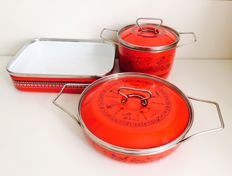 Carla Agnelli for Siltal - set of 3 Kitchen pots and baking tray