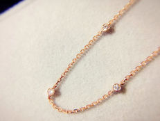 18Kt Pink Gold-Tiny 5 Diamonds 0.10ct diamonds bracelet– 16.5cm + 3cm extended chain