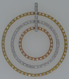 Handmade 18 kt yellow/white/red gold pendant set with top quality diamonds 1.19 ct