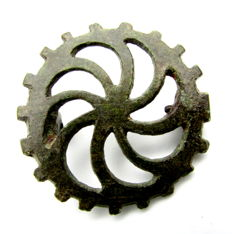 "Ancient Roman bronze open-work brooch shaped as Wheel - ""the Wheel of Fortune"" - 34 mm"