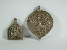 2 amulet pendants - silver - India 20th century