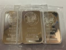 USA – 1 Ounce bar 'Sunshine Minting' (lot of 3) – 3 x 1 oz silver